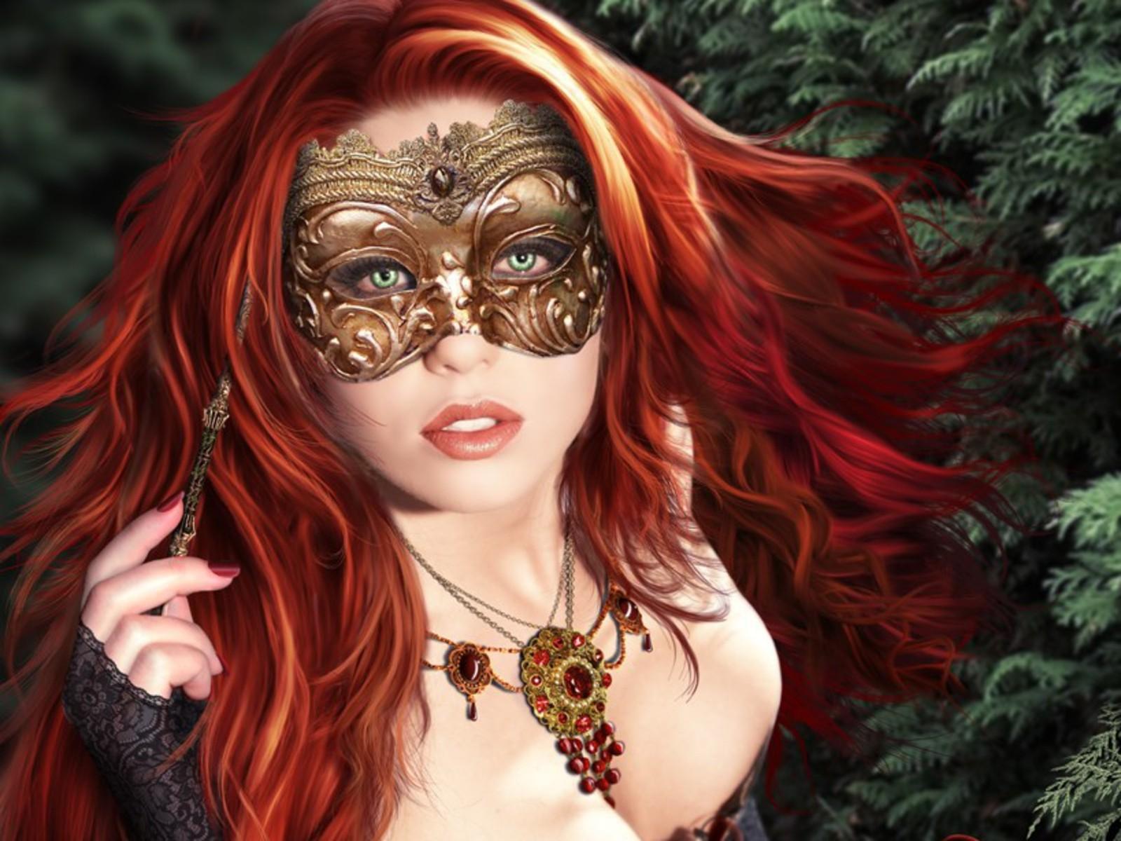 Фото девушек в маске арт