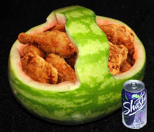 Fried chicken melon
